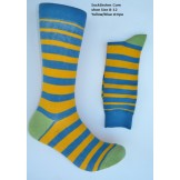 Cotton yellow and blue striped dres..