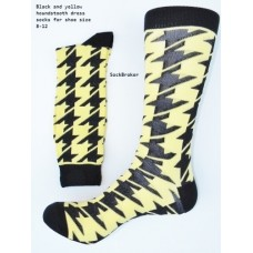Black and yellow hounds-tooth cotton dress socks-Men's 7-12