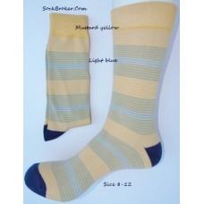 Yellow, blue and gray striped dress socks size 8-12