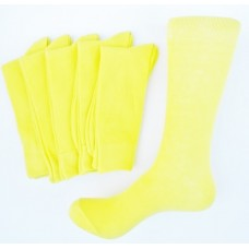 Neon Yellow Cotton Dress Socks  - Men's