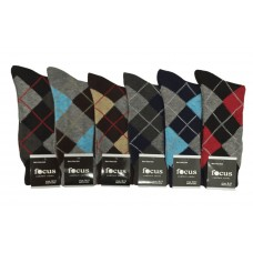 6 Pairs Assorted Cotton Argyle Dress Socks
