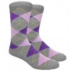 Light Gray Purple Cotton Argyle Dress Socks