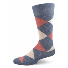 Vanucci denim blue and pink mercerized cotton argyle socks-men's