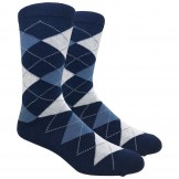 Navy Blue Cotton Argyle Dress Socks