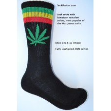 Black with red and green striped marijuana leaf padded  thick N thin cotton crew socks