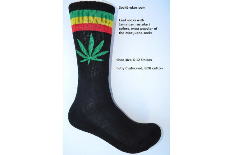 Black With Red And Green Striped Marijuana Leaf Padded