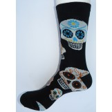 Black with white skull cotton socks..