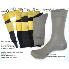 Mercerized Cotton Diabetic Comfort Top Dress Socks size 8-12