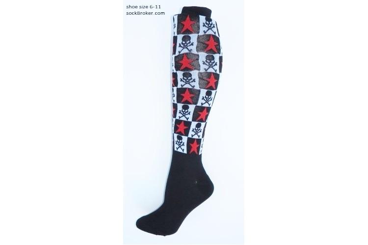 7e3c2d2a9 size 6-10 Black   white checkered skull   bones star knee high socks