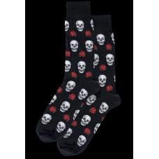 Novelty Small Skull Red Rose Socks