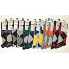 12pr  Men's  Argyle Cotton Dress Socks by Leeds