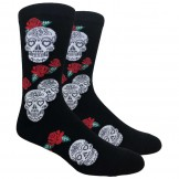 Novelty Skull Red Rose Socks