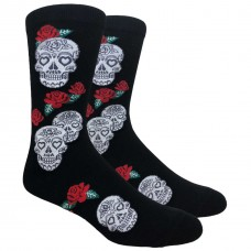 Novelty Large Skull Red Rose Socks