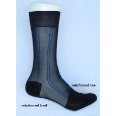 Sheer nylon black dress socks with royal blue pinstripe men's