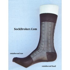 Sheer nylon brown dress socks with white pinstripe men's