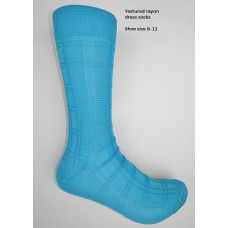Turquoise textured rayon formal dress socks by Origins size 8-12