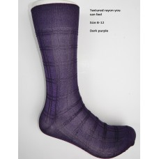 Dark purple textured rayon formal dress socks by Origins size 8-12
