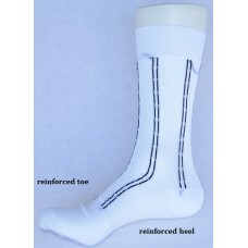 Sheer nylon white dress socks with black pinstripe men's