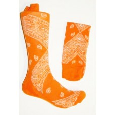 Premium Orange Cotton Bandana Dress socks