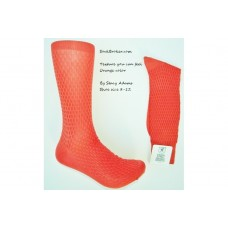 Orange textured rayon formal dress socks by Stacy Adams size 8-12