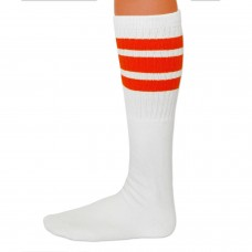 "23 "" White with 3 Orange striped tube socks"