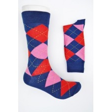 Blue with hot pink and red cotton argyle dress socks Size 7-12
