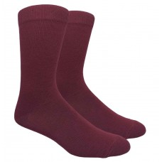 Burgundy cotton dress socks-Men's