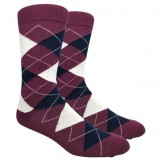Burgundy Cotton Argyle Dress Socks