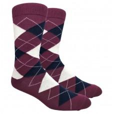 Burgundy Cotton Argyle Dress Socks