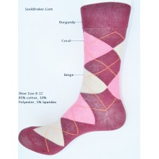 Burgundy with coral and beige cotton argyle dress socks