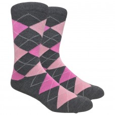 Premium Gray and Pink Cotton Argyle Dress Socks-Men's