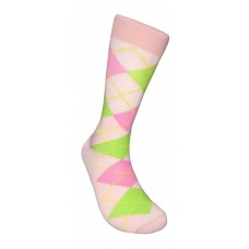 Baby Pink, Green And pink Cotton Argyle Socks-Men's