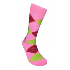 Hot Pink, Green And Red Cotton Argyle Socks