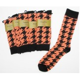 Orange Peach Cotton Hounds Tooth Dr..