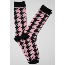 Pink / Black Houndstooth Cotton Dress Socks-Men's