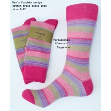 Fuchsia with blue taupe cotton striped dress socks size 8-12