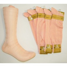 Salmon Peach Textured Rayon Formal Dress Socks