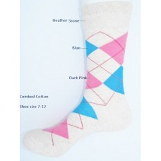 Heather stone with blue hot pink cotton argyle dress socks Size 7-12
