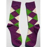 Purple,Green and white cotton argyl..