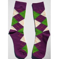 Purple,Green and white cotton argyle dress socks