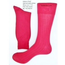 Premium ribbed auburn red mercerized cotton dress socks-Men's