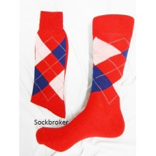 Sale!!! Red blue and white combed cotton argyle socks-men's