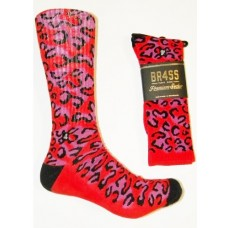 Size 9-13 Padded Red Cheetah Camouflage Cotton Crew Socks