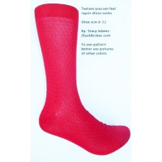 Bright red textured rayon formal dress socks by Stacy Adams size 8-12
