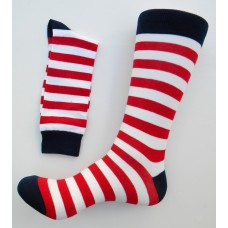 Men's Red, white Blue Striped Cotton Dress Socks