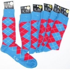 K.Bell Blue and red cotton argyle dress socks-Men's
