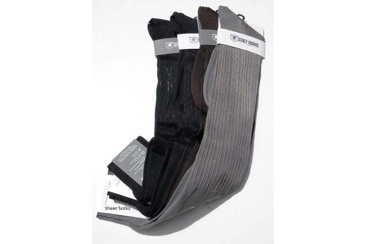 Men Sheer Ribbed Nylon Over The Calf Dress Socks
