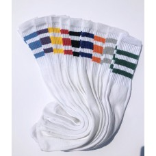18 prs of 23 inch White Tube Knee High Socks With Old School three stripes