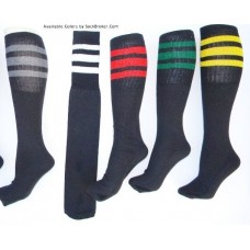 "3 Pairs Of 19"" Long Black 3 Striped Tube Socks"