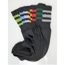 3 Pairs of Black 23 inch Old School three striped tube Knee High socks